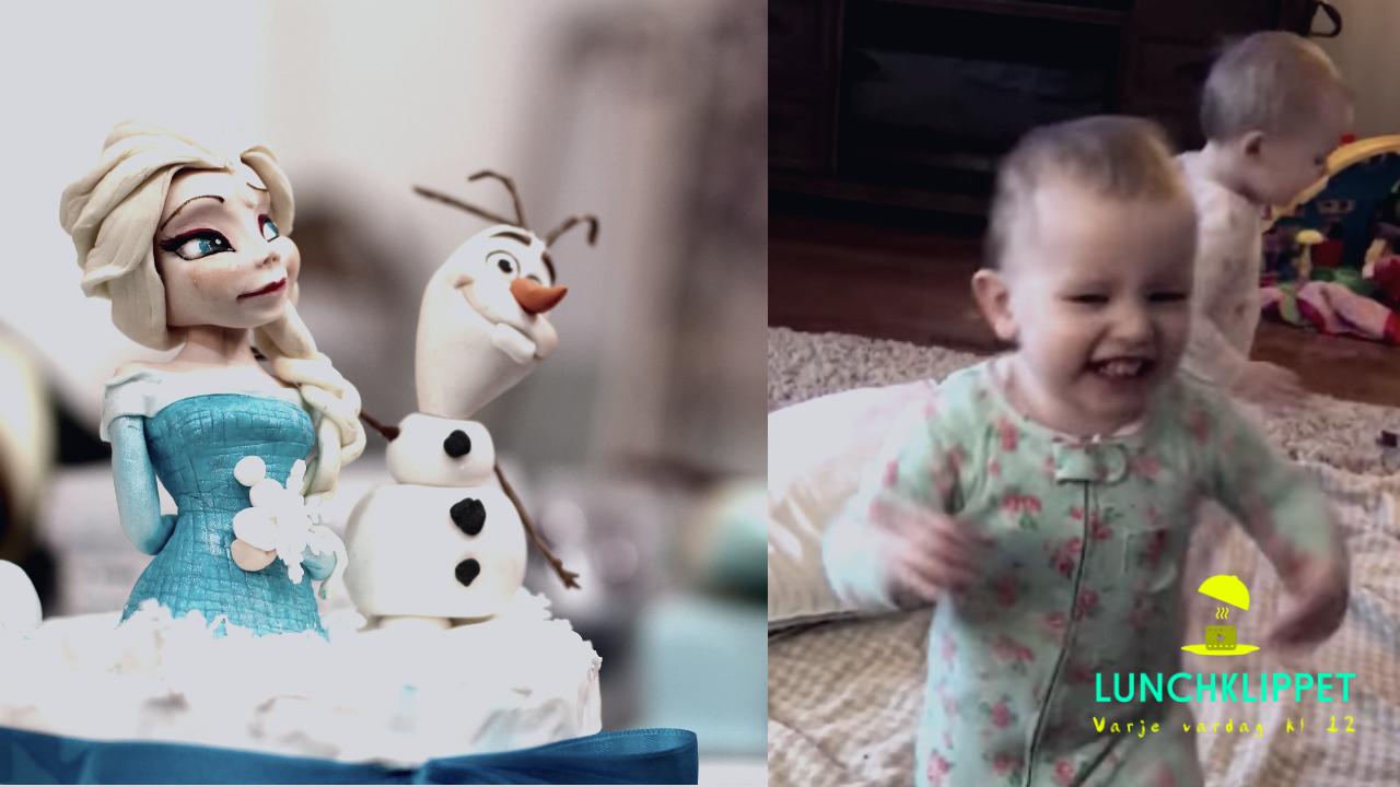 Bedårande tvillingar spelar upp en scen från Frost!