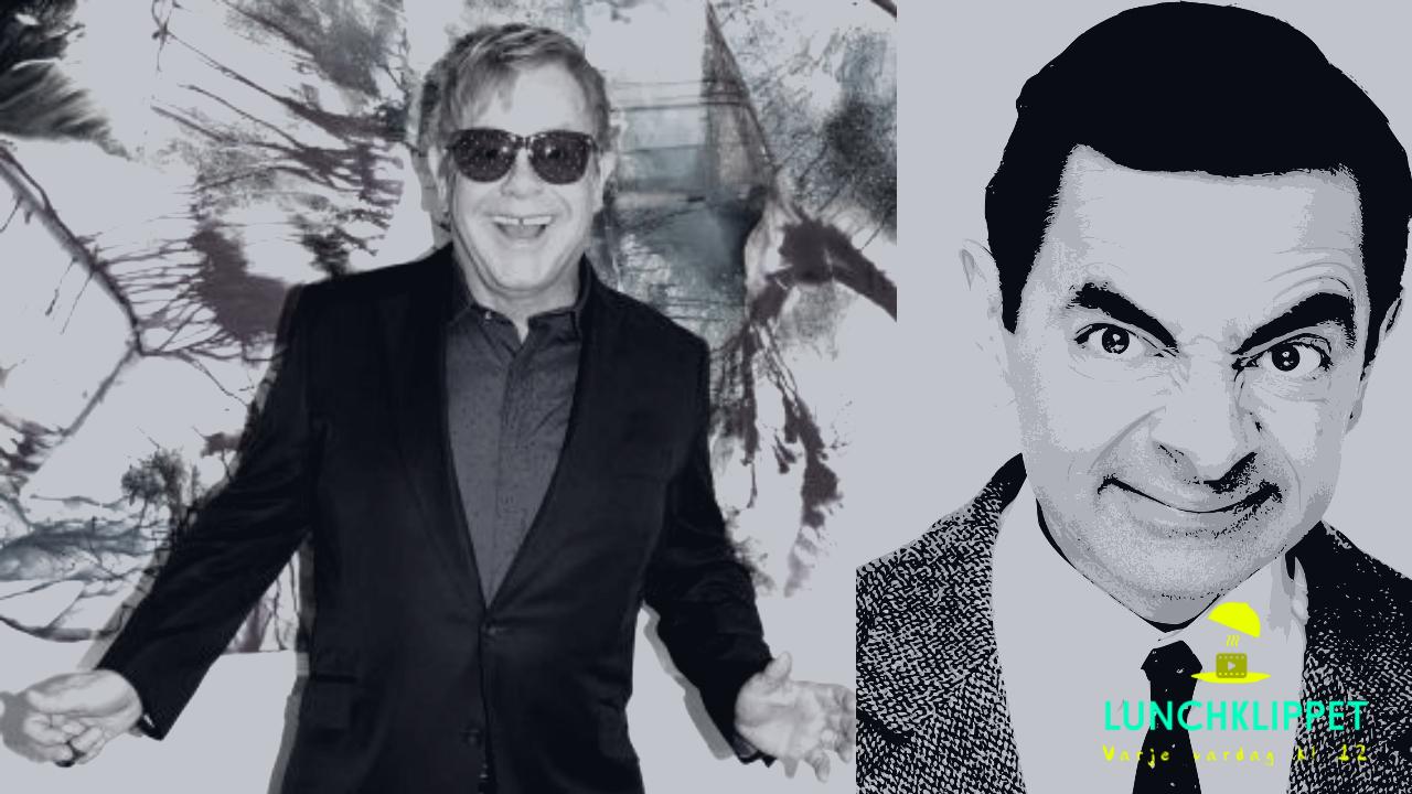 Elton John blir förbannad när Rowan Atkinson (Mr. Bean) hakar upp sig